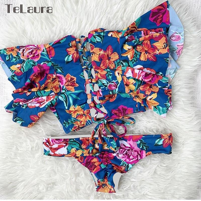 H2edc8e7390744aecaaa65519a119c334E Ruffle High Waist Bikini 2019 Swimwear Women Swimsuit Push Up Bikinis Women Biquini Print Swimsuit Female Beachwear Bathing Suit