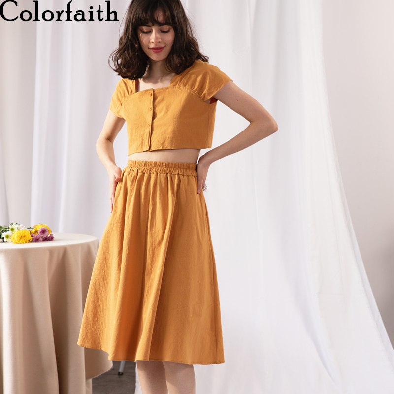 Colorfaith 2020 New Summer Woman 2 Piece Sets Matching Long Skirt High Elastic Waist Single Breasted Vintage Casual Suits WS3803
