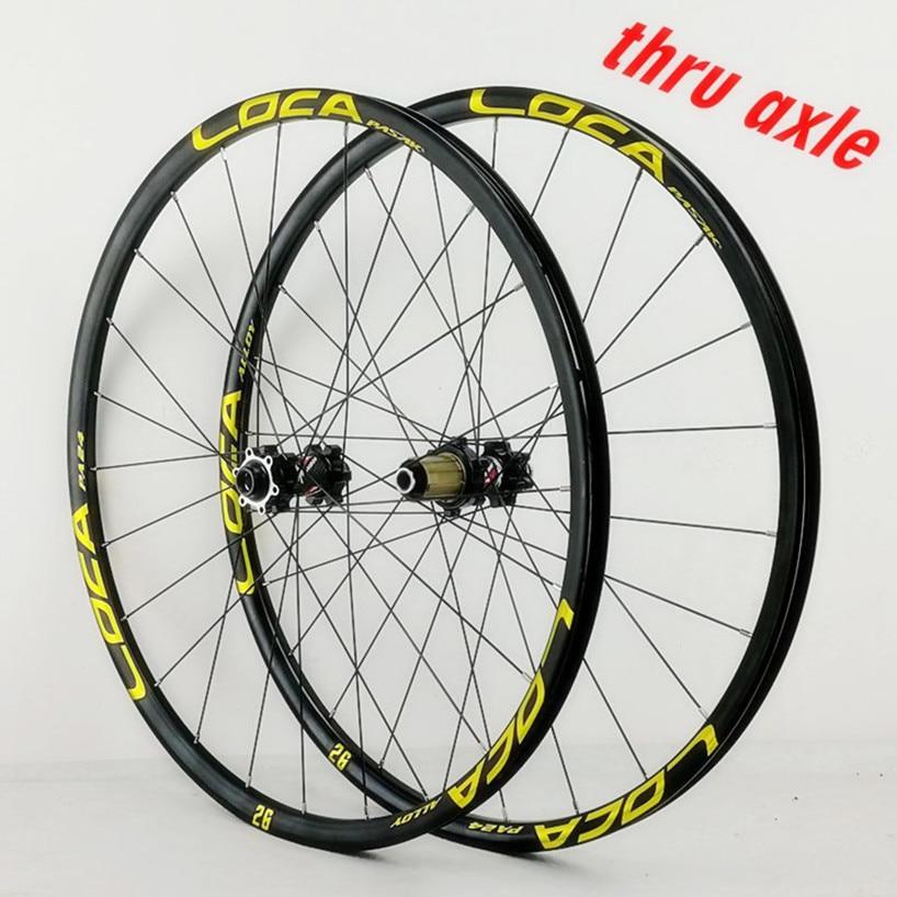PASAK 26/27.5/29inch Mountain Bike Wheelset Thru-axis Disc Brake 24H Stright Pull Axle 12Speed Alloy Wheels 700C MTB Rim