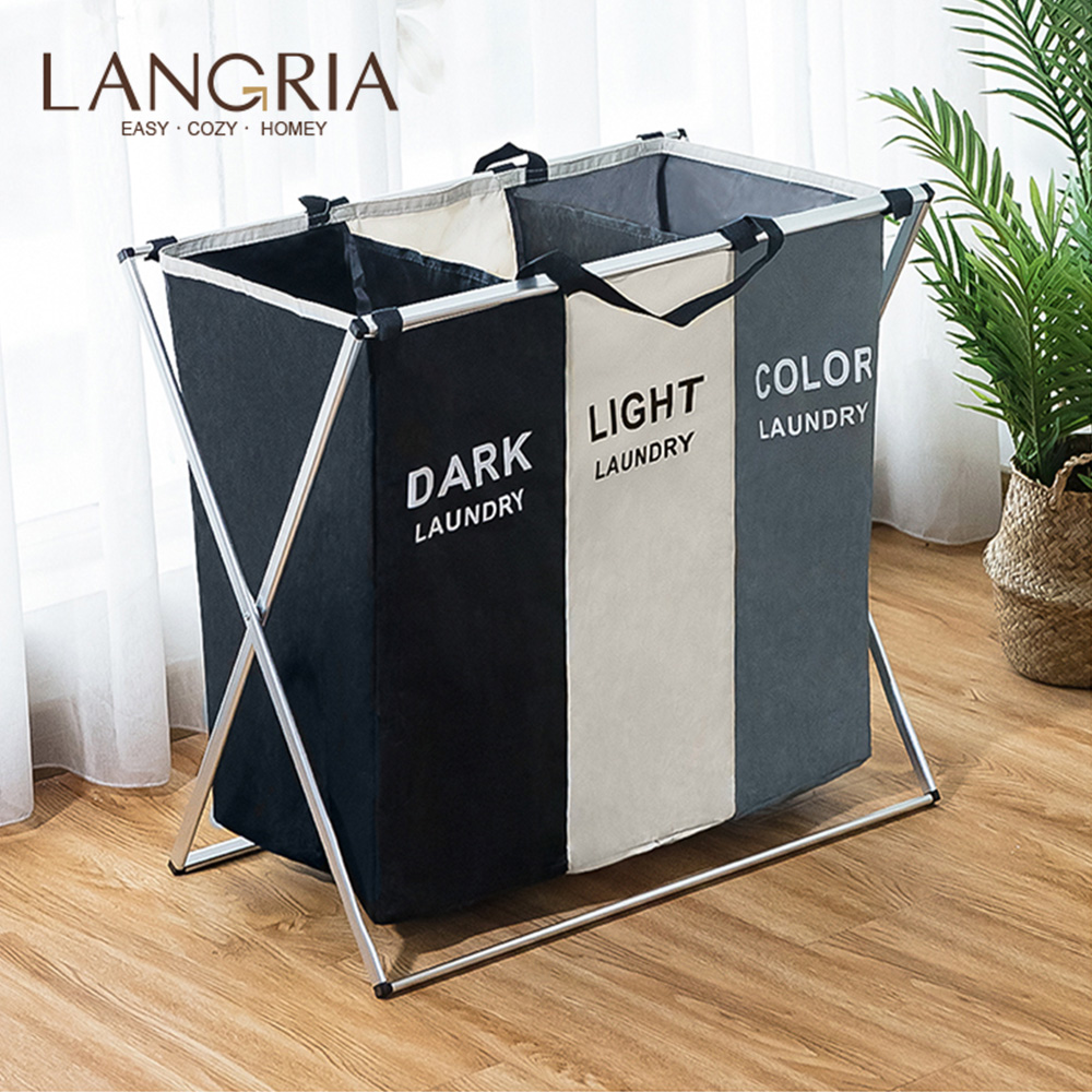 LANGRIA Foldable Dirty Laundry Basket Organizer 1/2/3 Sections Large Basket Hamper For Laundry Foldable Wash Clothes Laundry Bag