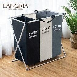 Langria dobrável suja cesta de lavanderia organizador 1/2/3 seções grande cesta cesto para lavanderia dobrável lavar roupa saco de lavanderia