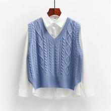 Female Waistcoat Outerwear Tops Sweater Vest Pullover Knitted Loose Autumn Women Ladies