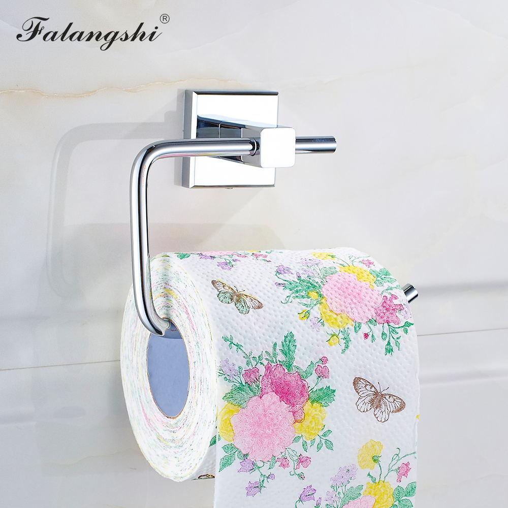 Держатель для рулонной бумаги Falangshi, аксессуары для ванной комнаты, медный полированный хром, настенное крепление для туалетной бумаги в от...