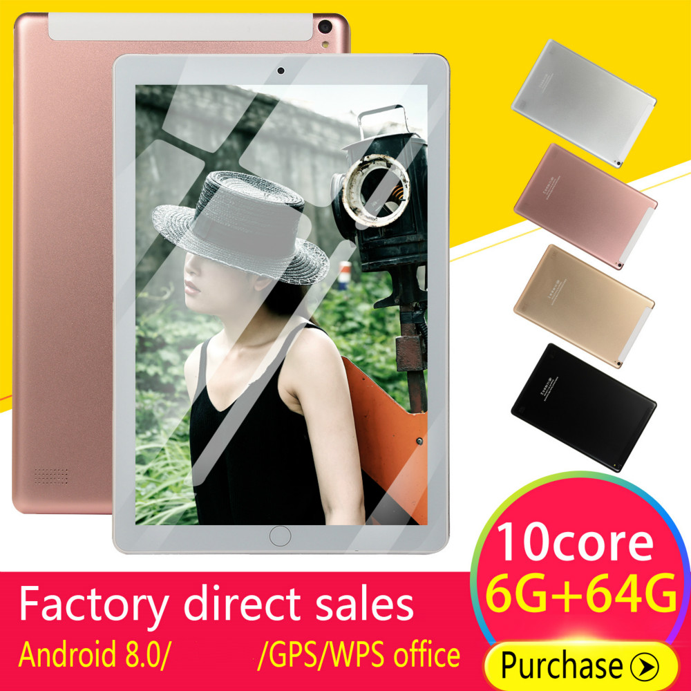 10 Inch Tablet  Quad Core 4GB RAM 64GB ROM  Screen Tablets 10 4G Phone Call Wifi GPS Bluetooth Video  Android 8.0