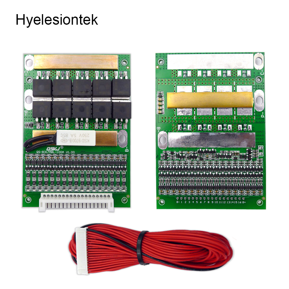 BMS 6S to 17S 50A 4.2V Balancing 10S 17S BMS Lithium Li ion 18650 Lipo Battery Protection Circuit Board PCM Changeable Balancer