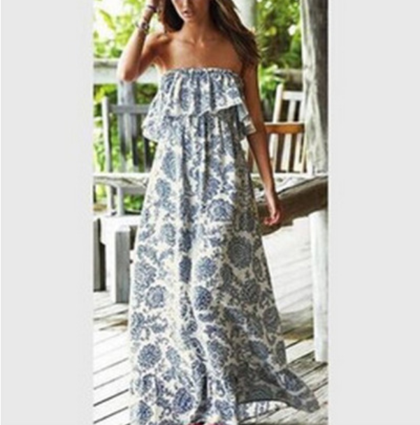 2020 The New Blue And White Porcelain Horizontal Neck Off Shoulder Loose-Fit Sleeveless Tube Top Dress