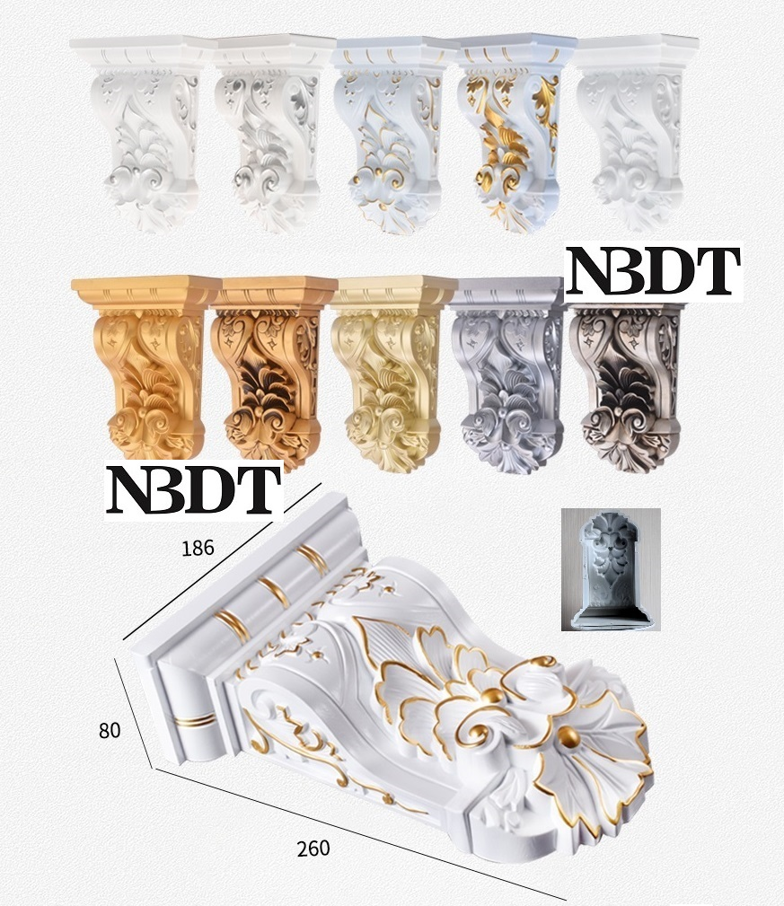 Royal Classic European Plastic Steel Composite Emboss Corbel Hand Painted Gold Silver Architectural Furniture Decoration