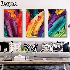 Алмазная вышивка, художественная абстракция, перья птиц, 3 предмета, алмазная живопись, вышивка крестиком, мозаика, стразы, настенный Декор д...