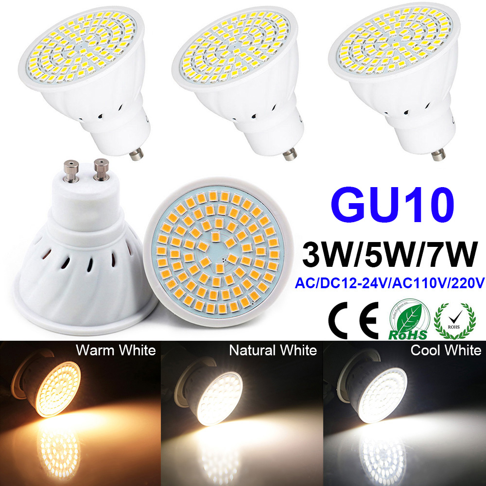 GU10 LED Bulb <font><b>AC</b></font>/DC12V-24V 3W 5W 7W 10-30V Lamp Warm Cold Neutral White LED Lamp Bulb Home Decoration Replace Halogen Light D40 image