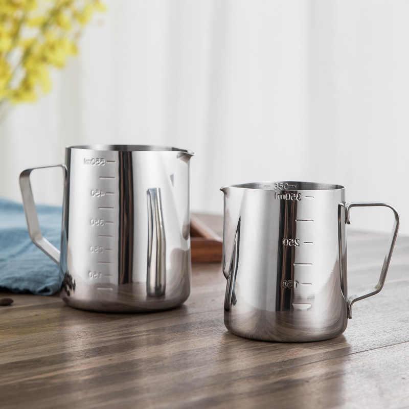 Stainless Steel Susu Buih Kendi Espresso Cokelat Kehitaman Pitcher Barista Kerajinan Kopi Latte Susu Buih Kendi Pitcher 350 600 1000 Ml