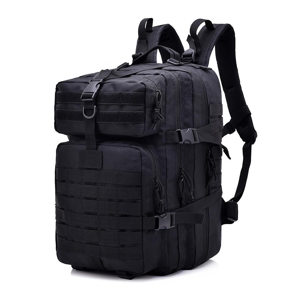 Black 45L Molle Tactical Backpacks 900D Military Assault Pack Outdoor 3P EDC CS Pack Hunting Trekking Backpack Rain Cover