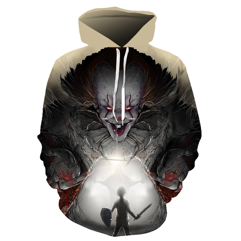 2019 Horror Movie The Pennywise IT Clown Stephen King's It Sweatshirt Horror Movie Hoodie Halloween Party Hip Hop Street Costume