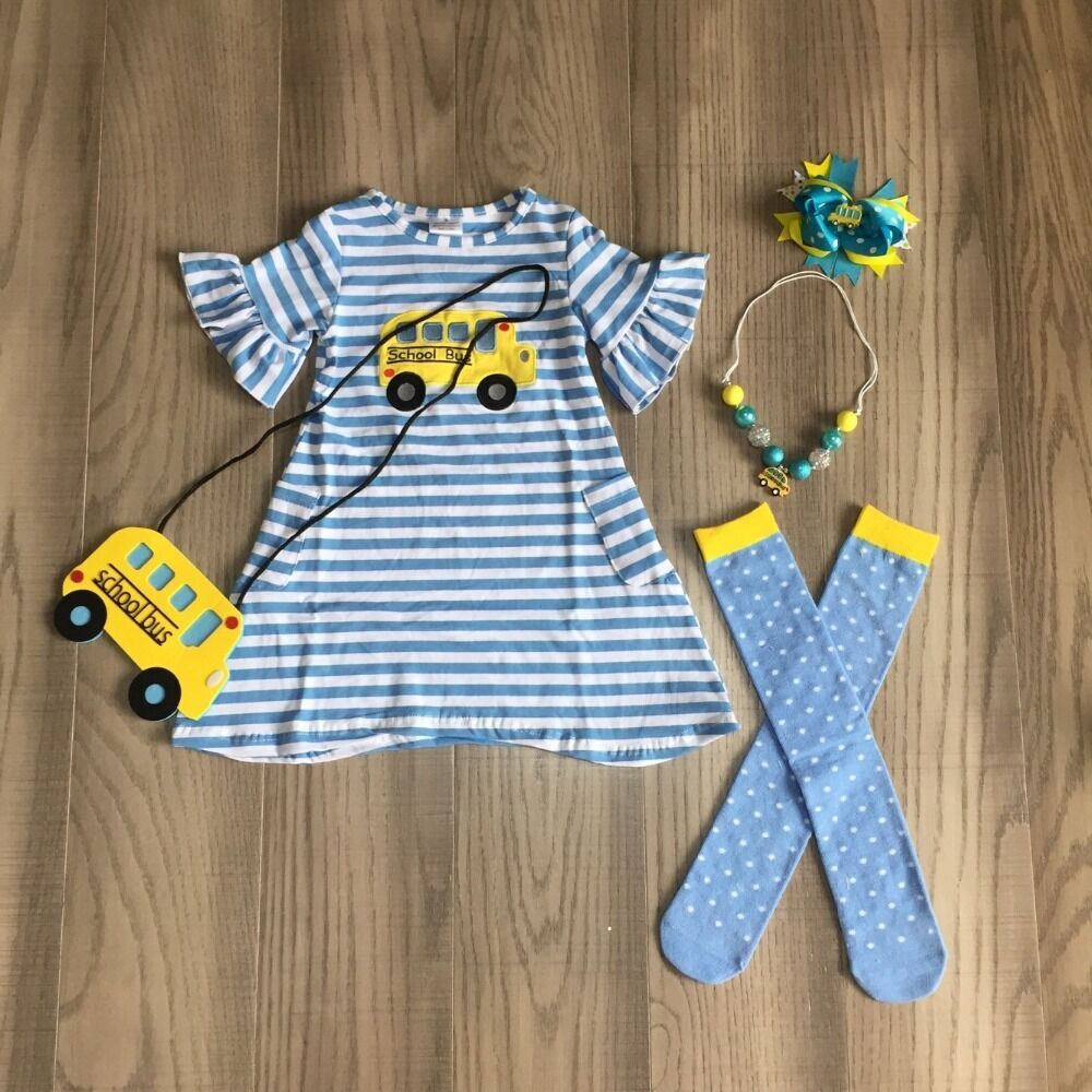 Baby Girls Back To School Dress Outfits Girls School Bus Dress Blue Stripe Dress Matching Purse ,stocking  And Accessories