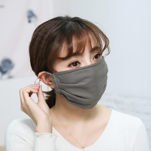 Cotton Anti-dust Mask Flu Face Mask Unisex PM2.5 Washable Reusable Anti Haze Mouth Mask breathable Warm Mask Black Mask FFP2 2