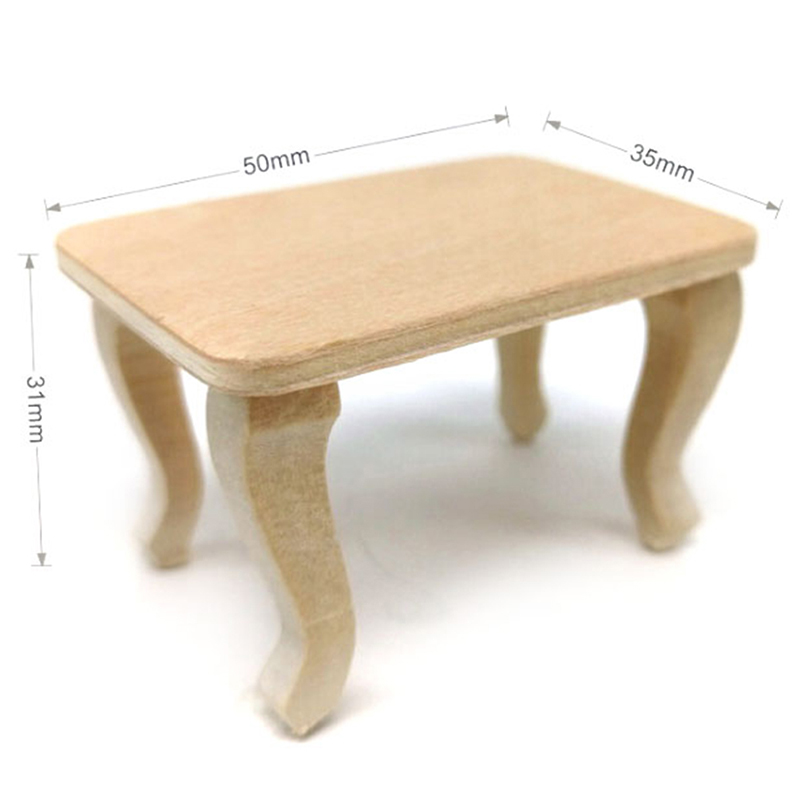Mini Wooden Table Furniture Toys 1:12 Dollhouse Miniature Accessories DIY Doll House Decor Baby Toys
