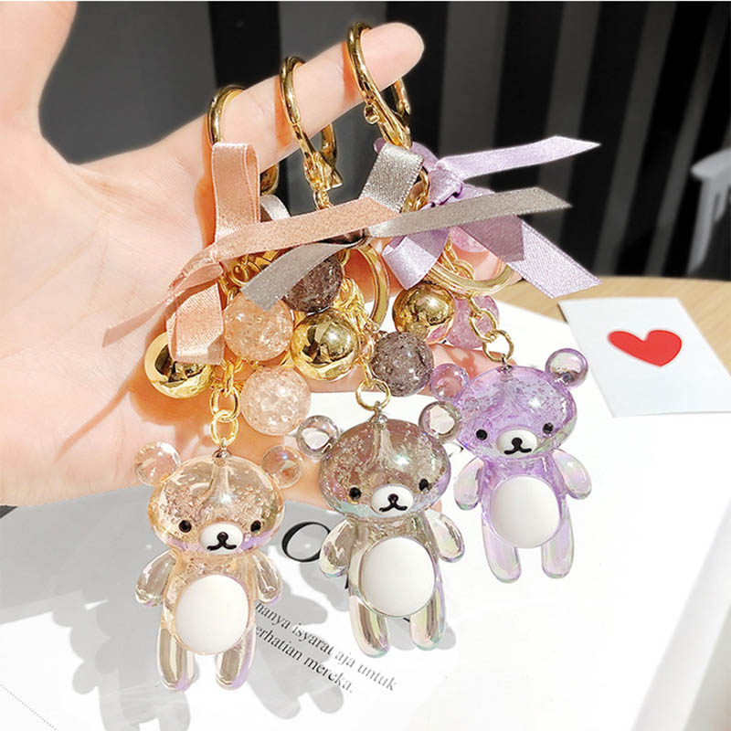 Cute Glitter Keychain Cut Glass Bear Bow Crystal Ball Keychains Fashion Women's Bag Hanging Creative Car Keyring Jewelry
