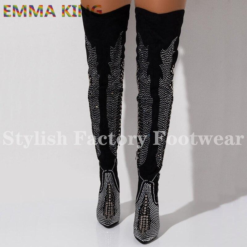 EMMA KING Luxury Crystal velvet Over Knee Boots Autumn Winter Boots Women Driling Rivets Studs Belt Strap High Heels Shoes