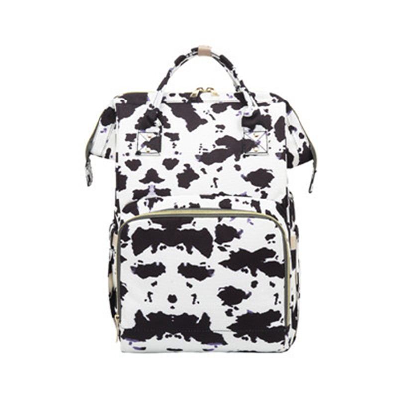 Fashion Lady Diaper Bags Cow Printed Baby Mummy Nappy Backpacks Multi-functional Large Capacity Family Travel Out Maternity Bags