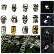 2 Stuks Gat Diameter 3 ~ 4 Mm Metalen Bedels Skull Paracord Kralen Diy Hanger Gesp Mes Lanyards Decoratie Armband accessoires(China)