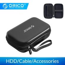 ORICO Внешний жесткий чехол для хранения HDD SSD сумка для 2,5 жесткого диска внешний аккумулятор USB кабель зарядное устройство Внешний аккумулятор наушники чехол PHM черный