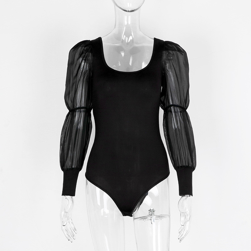 Trendy Women clothes V-neck transparent Long Sleeve Bandage Bodysuit backless casual Leotard Polyester Jumpsuit one pieces