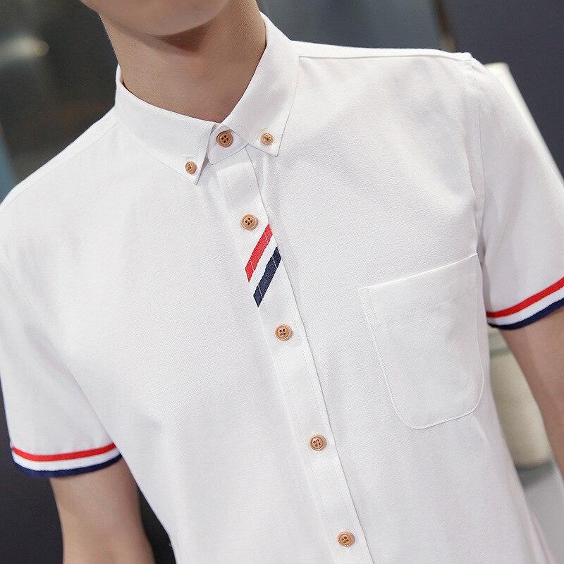 men 2020 Summer Solid Color Men's Short Sleeve Shirt Fashion Casual Men's Shirt Slim Youth Shirt