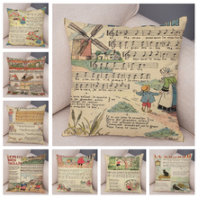 Cojín con diseño de carteles protectores de decoración Vintage europeo dibujos animados niños música Staves funda de almohada 45x45 funda de almohada de felpa para sofá Silla de hogar