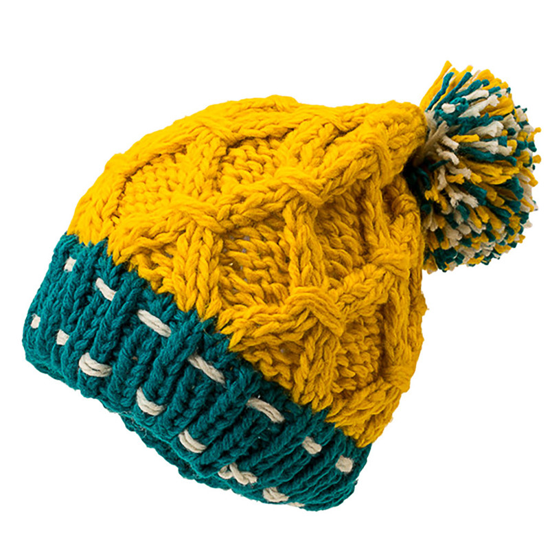 Fashion Women Cute Patchwork Thermal Woolen Hat Knitted Hat Bucket Hat Cap Colorful Winter Accessories 30DE22 (4)