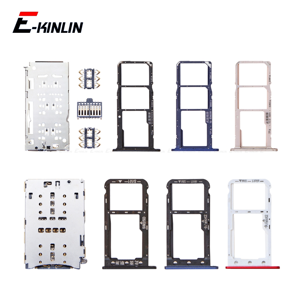 Micro SD Sim Card Tray Socket Slot Container For Honor Y6 Pro Y5 Prime 2018 2017 DRA-LX2 L01 DUA-LX2 L21 Adapter Reader