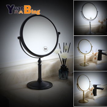 desktop 36led facial makeup mirror compact size 180 degree rotation tabletop cosmetic makeup mirror with magnification new Bath Mirror Black/Slivery/Gold Desktop 6/8 inch Brass 3X Magnifying Mirror Makeup Mirror Cosmetic Mirror Lady Gift