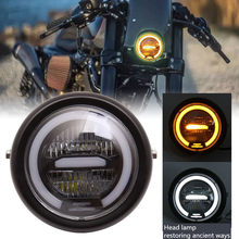 "6.5"" Universal Retro-motorcycle LED Halo Headlight Cafe Racer Vintage Motorcycle LED Head lamp Motorbike Front Light 6.5 inch(China)"