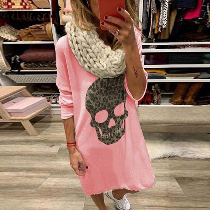 VIEUNSTA 5XL Autumn Long Sleeve Printed T-shirt <font><b>Dress</b></font> Women <font><b>Sexy</b></font> O Neck Loose Knee Party <font><b>Dress</b></font> <font><b>Plus</b></font> <font><b>Size</b></font> Ladies <font><b>Dresses</b></font> Vestidos image