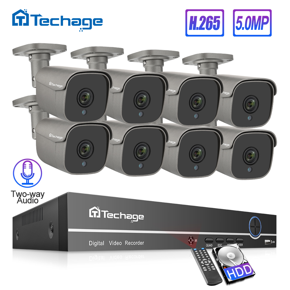 Techage 8CH 5MP HD POE NVR Kit CCTV System Two Way Audio AI IP Camera IR Cut Outdoor P2P Video Security Surveillance Set 2TB HDD