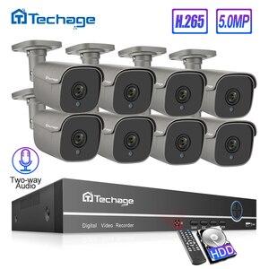 Techage 8CH 5MP HD POE NVR Kit CCTV System Two Way Audio AI IP Camera IR Cut Outdoor P2P Video Security Surveillance Set 2TB HDD(China)