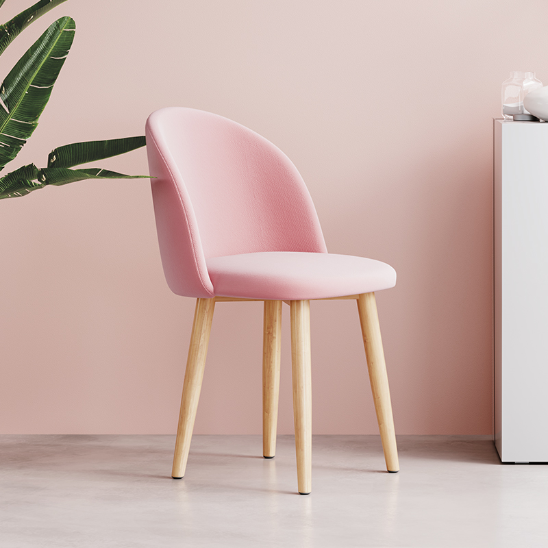 Ins Pink Makeup Chair Dressing Modern Minimalist Nordic Dining Chairs Solid Wooden Cafe Chair Living Room Furniture Cadeira
