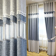 Simple And Modern Nordic Cotton And Linen Hollow Shading Stitching Curtains Living Room Bedroom Floor Curtains