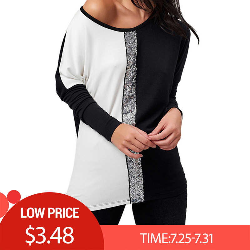 Ladies Tops and Blouses 2019 Off Shoulder Long Sleeve Shirt Sequined Patchwork Tunic Casual Loose Tops Plus Size Chemise Femme F