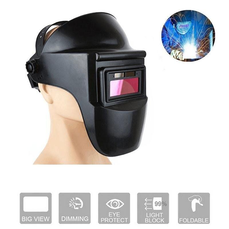 Sparkproof Anti-UV Protective Mask Welding Helmet Anti-Glare Lens Arc Radiation Head-Mounted Solar Auto Darkening Black
