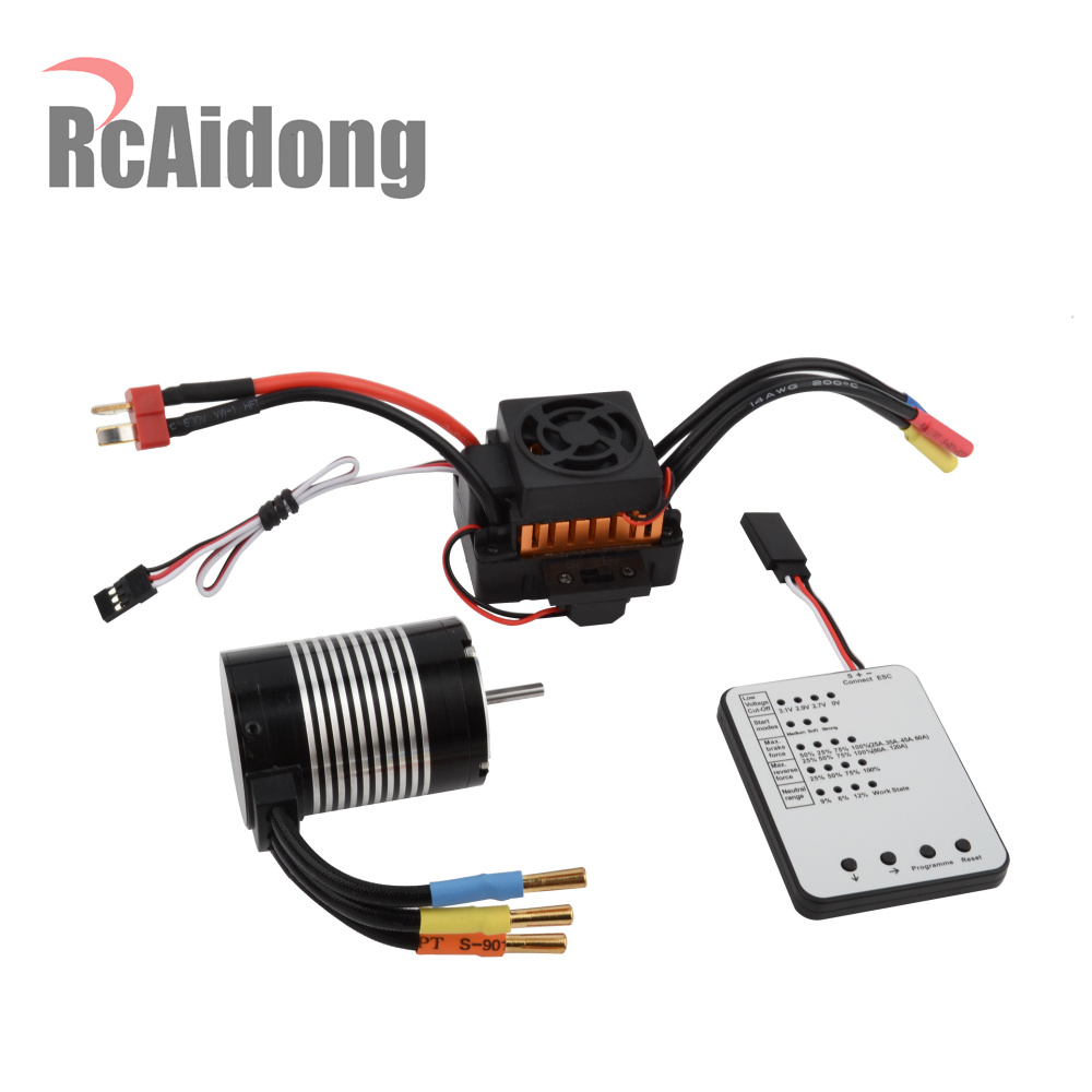 RC F540 Waterproof 3650 3300KV Brushless Motor with Programming Card and 45A ESC for 1/10 Scale RC Car Parts
