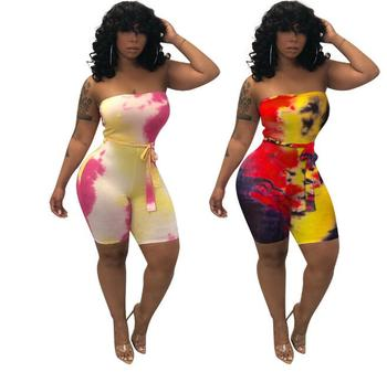 Women Strapless Tie Dyed Printed With Belted Bodycon Above Knee Wetsuit Beach Vacation Romper Sexy Club Romper 2 Color round tie dyed tassels sarong beach throw