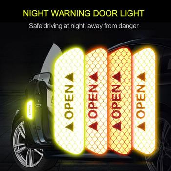 4Pcs Warning Mark Car OPEN Reflective Warning Stickers Door Opening Tips Anti-collision Stickers Safety Sticker Car Accessories image