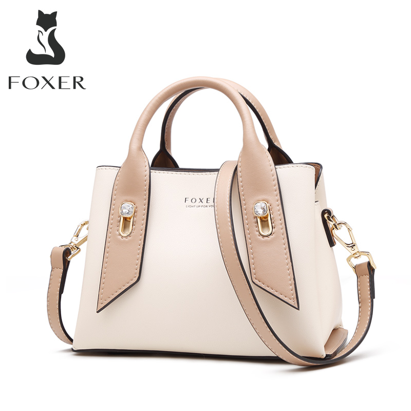 FOXER Luxury Style Purse For Ladies Cowhide Leather Female Elegant Totes Commute Handbag Business Women Fashion Messenger Bag