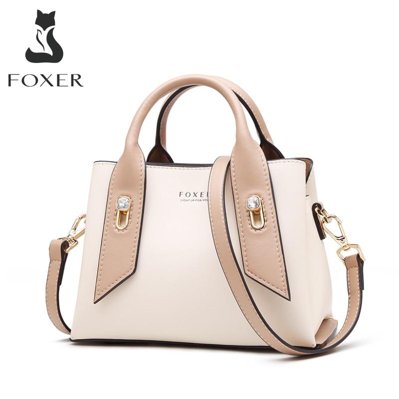 FOXER Luxury Style Purse For Ladies Cowhide Leather Female Elegant Totes Commute Handbag Business Women Fashion Messenger Bag