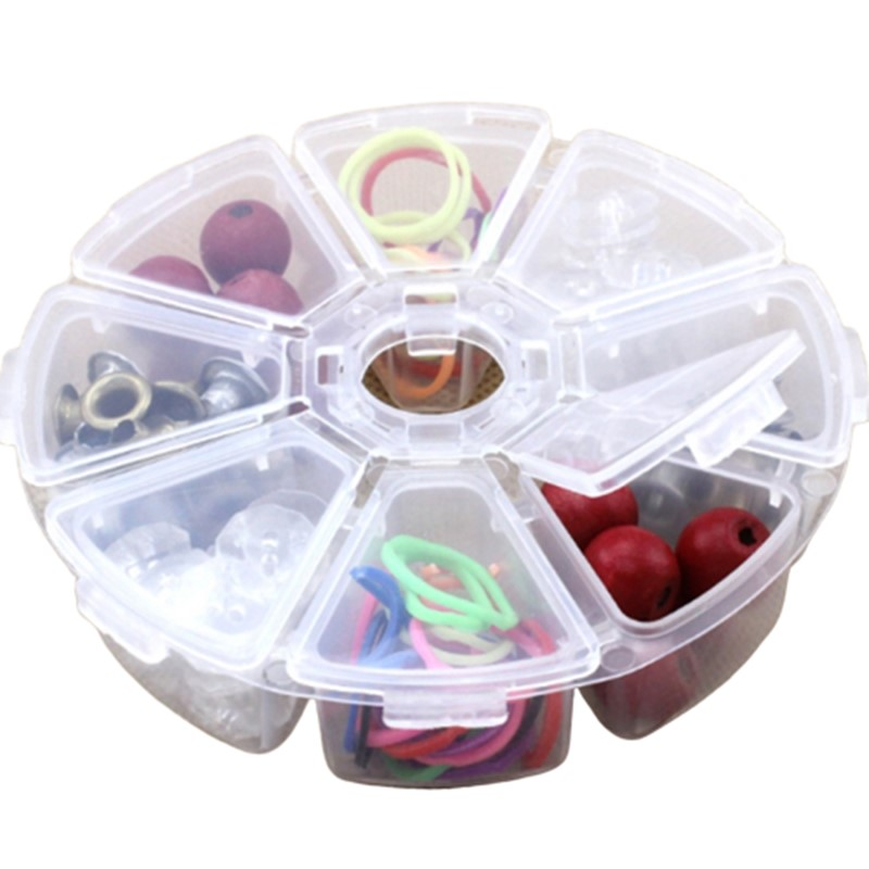 New 8 Round Compartment Storage Box Transparent PP Plastic Box Small Component Jewelry Tool Box Bead Pills Objects Organizer