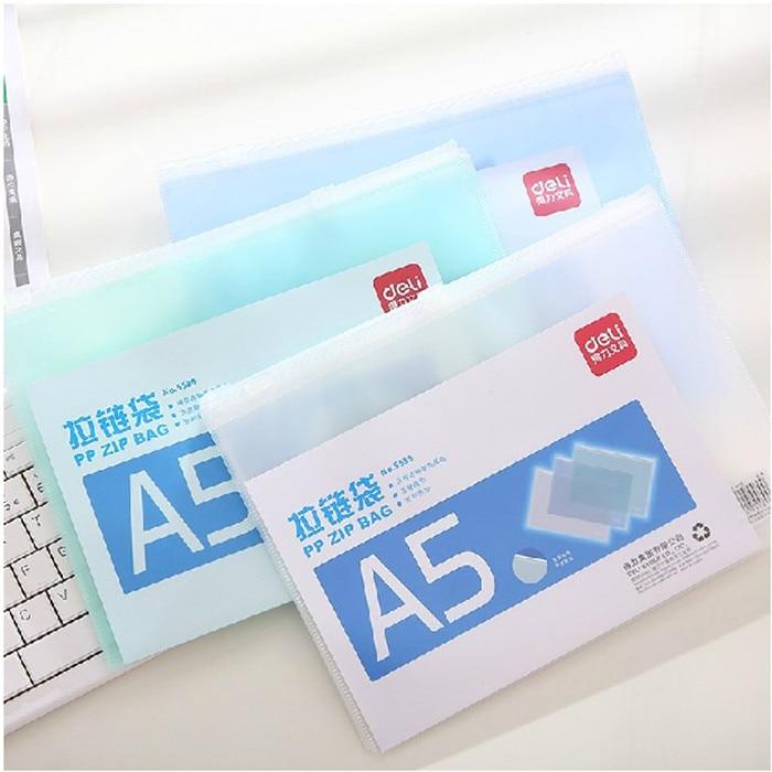 1pcs A5 Waterproof Plastic Zipper Folder Book Pen Bag File Bag Office Supplies Student Supplies