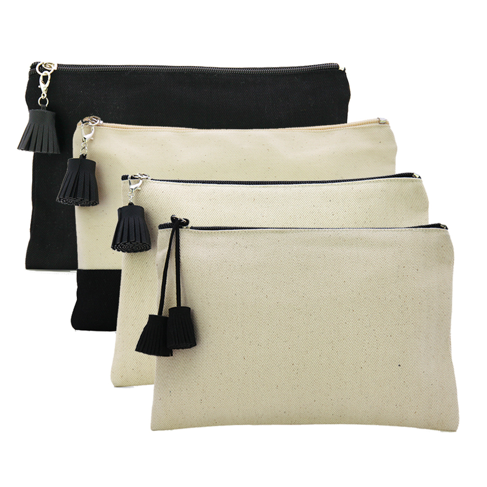 Oivefeet,4pcs 16oz Plain Nature Cotton Canvas Cosmetic Bag Travel Toiletry