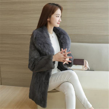 Woman Winter Plus Size Solid Fox Fur Collar Black Full Slim Pelt Rabbit Overcoat Lady Cardigan Warm Medium Coat image