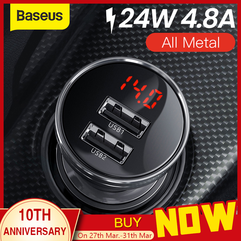 Baseus 24W Dual USB Car Charger for iPhone 11 Samsung S9 Mobile Phone Charger for Huawei Xiaomi Car Phone Charger & LED Display