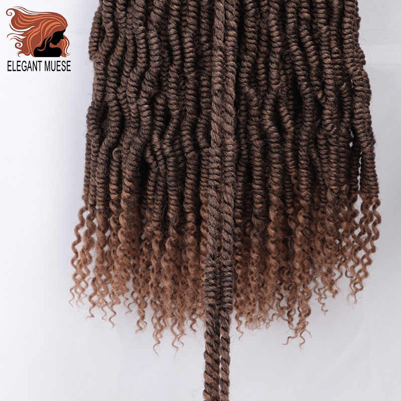 Passion twist 14 18 inch 24 Strands Nubian Twists Crochet Braids Synthetic Braiding Kinky Twist Hair Extension For Fluffy Twist