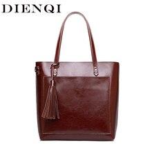 DIENQI Large Women Genuine Leather Shoulder Bags Retro Tassel Luxury Women Handbags Black Ladies Big Shopper Hand Bags Designer